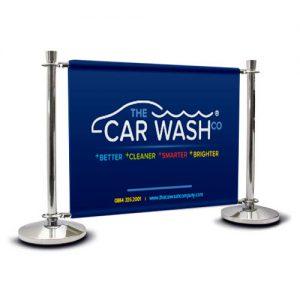 Car Wash Cafe barrier signage