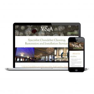 V&A Chandelier website design
